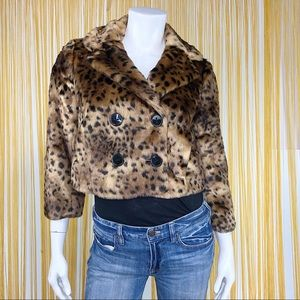 LOFT Leopard Faux Fur Cropped Jacket XS
